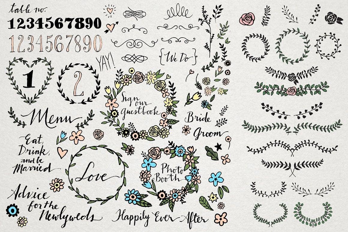 Love Megapack: over 250 wedding elements vector - img4