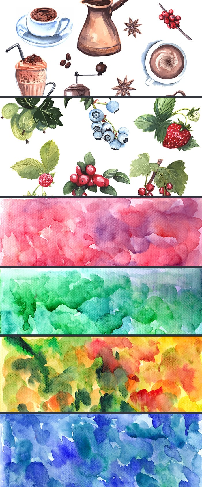 The Gorgeous Watercolor Collection with Bonus and handmade elements – only $22 - inkydeals gorgeous watercolor collection preview