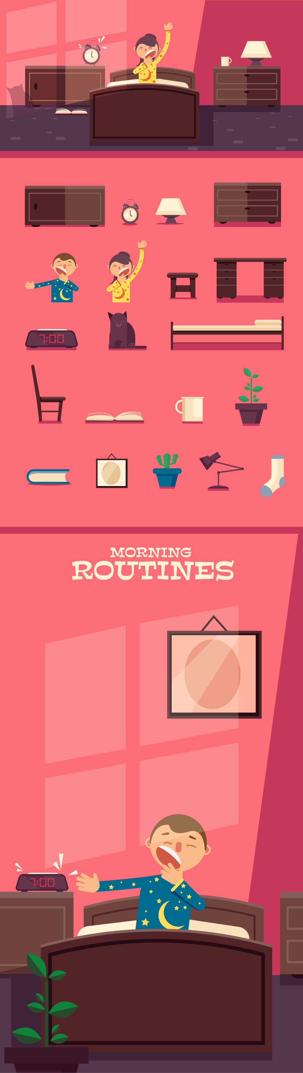 The Best Mega Graphics Bundle. 1000+ Premium Items for $49 - morning routines elements1