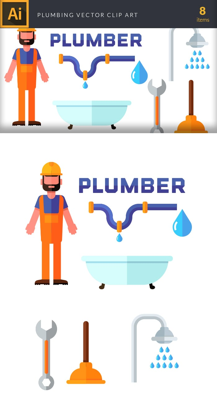 The Best Mega Graphics Bundle. 1000+ Premium Items for $49 - plumbing large