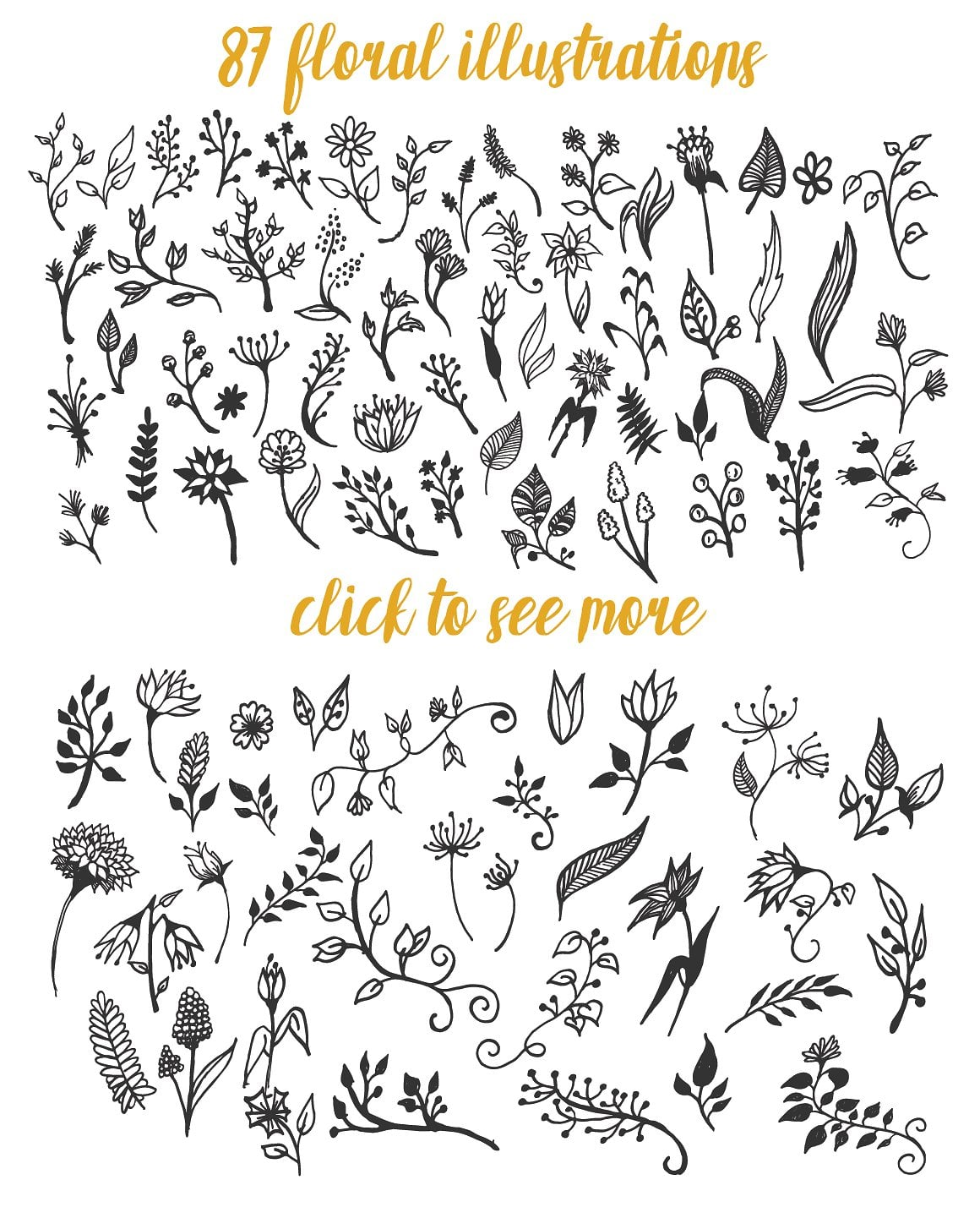 1900+ Best Hand Drawn Flowers And Patterns Bundle 2020 - $24 - prev2 01