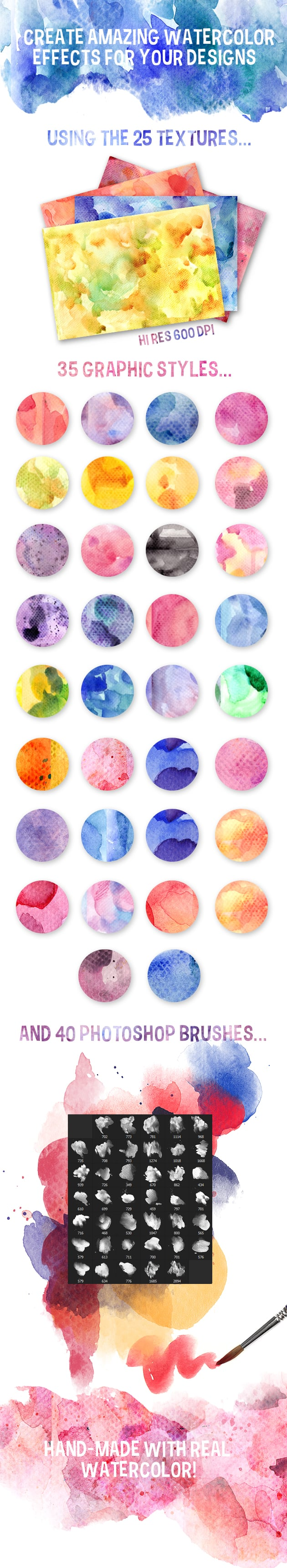 The Gorgeous Watercolor Collection with Bonus and handmade elements – only $22 - preview large