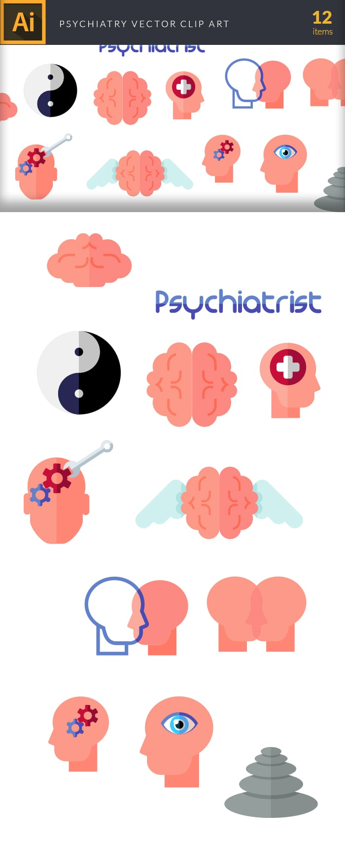 The Best Mega Graphics Bundle. 1000+ Premium Items for $49 - psychiatry large