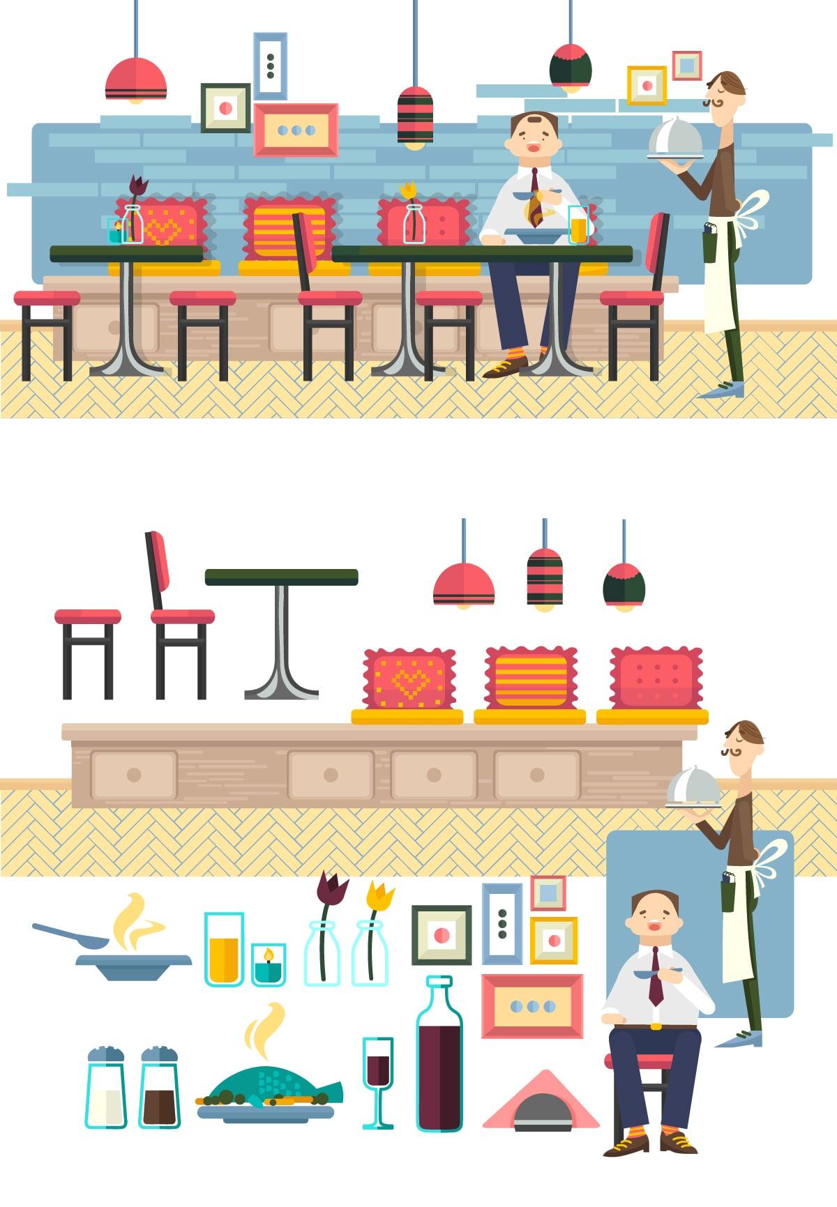 The Best Mega Graphics Bundle. 1000+ Premium Items for $49 - restaurant web elements