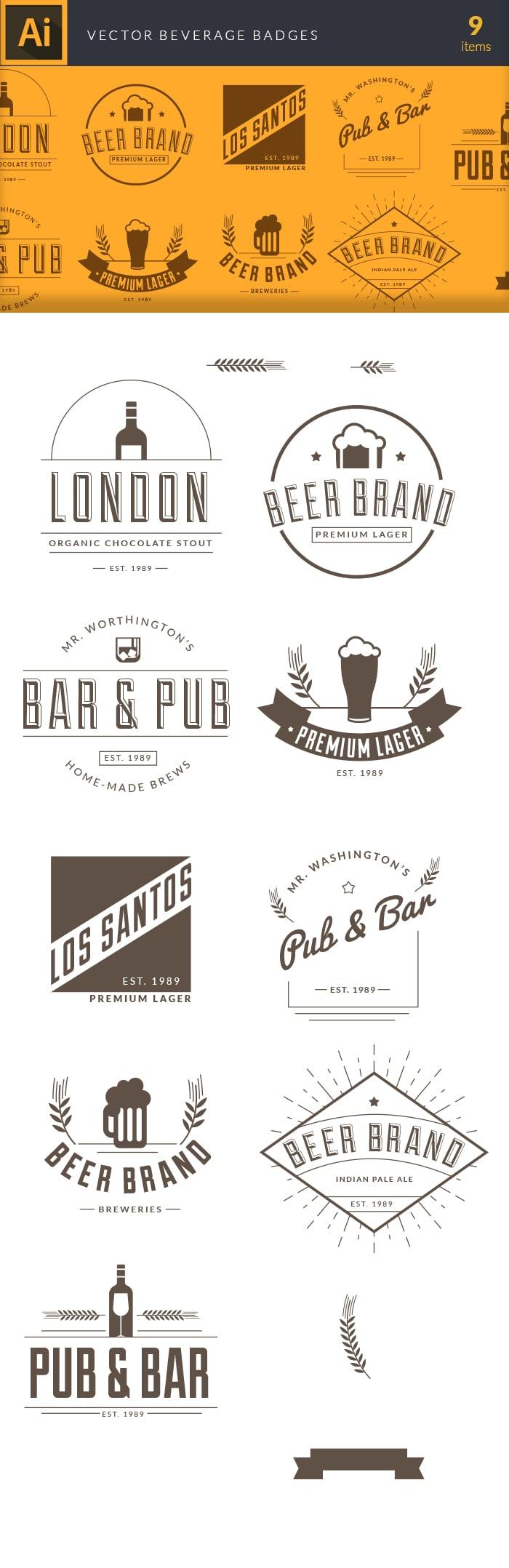 The Best Mega Graphics Bundle. 1000+ Premium Items for $49 - vector bar pub badges large1