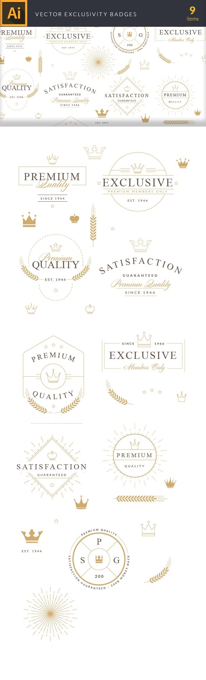 The Best Mega Graphics Bundle. 1000+ Premium Items for $49 - vector exclusivity badges large1