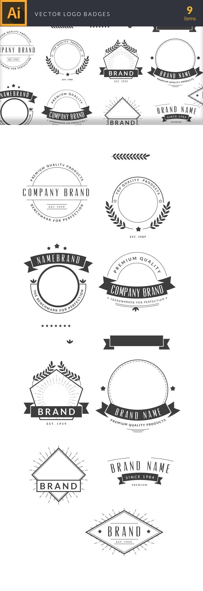 The Best Mega Graphics Bundle. 1000+ Premium Items for $49 - vector logo badges large1