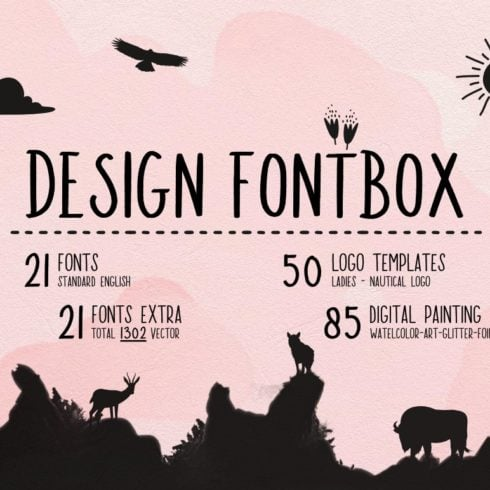 Fontbox - Elements for Web Design - Fonts, Logos, Watercolors - Designs Fontbox 1 490x490