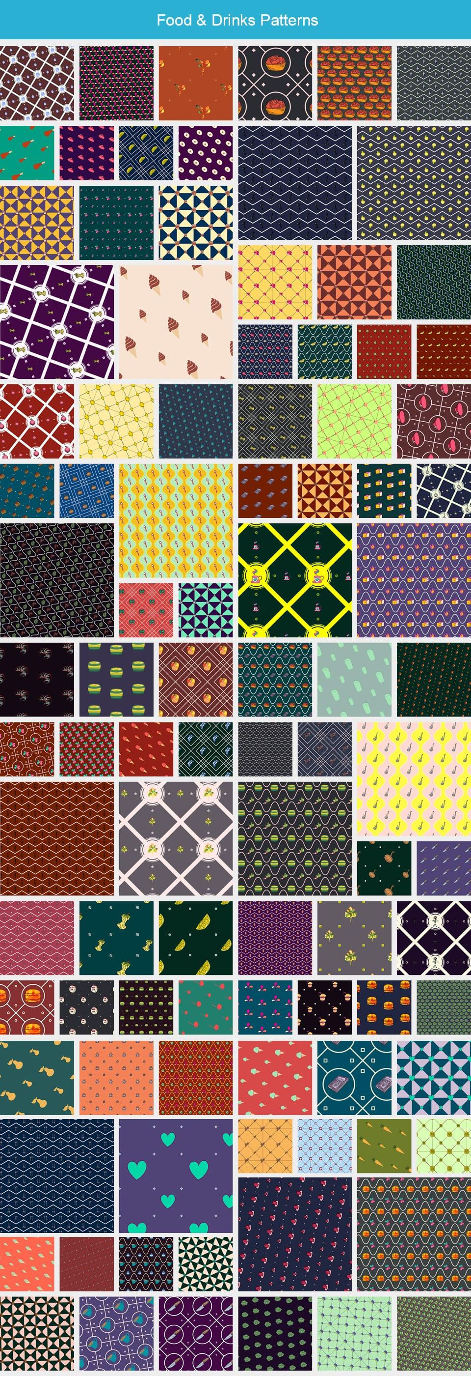 Modern Pattern Designs - Mega Bundle with 2000 Patterns - Large Preview FoodDrinks