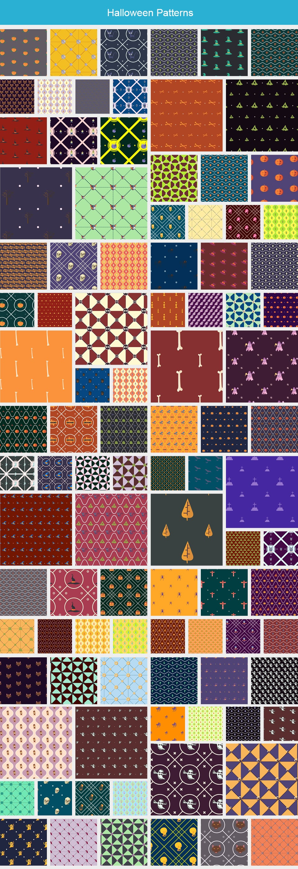 Modern Pattern Designs - Mega Bundle with 2000 Patterns - Large Preview Halloween