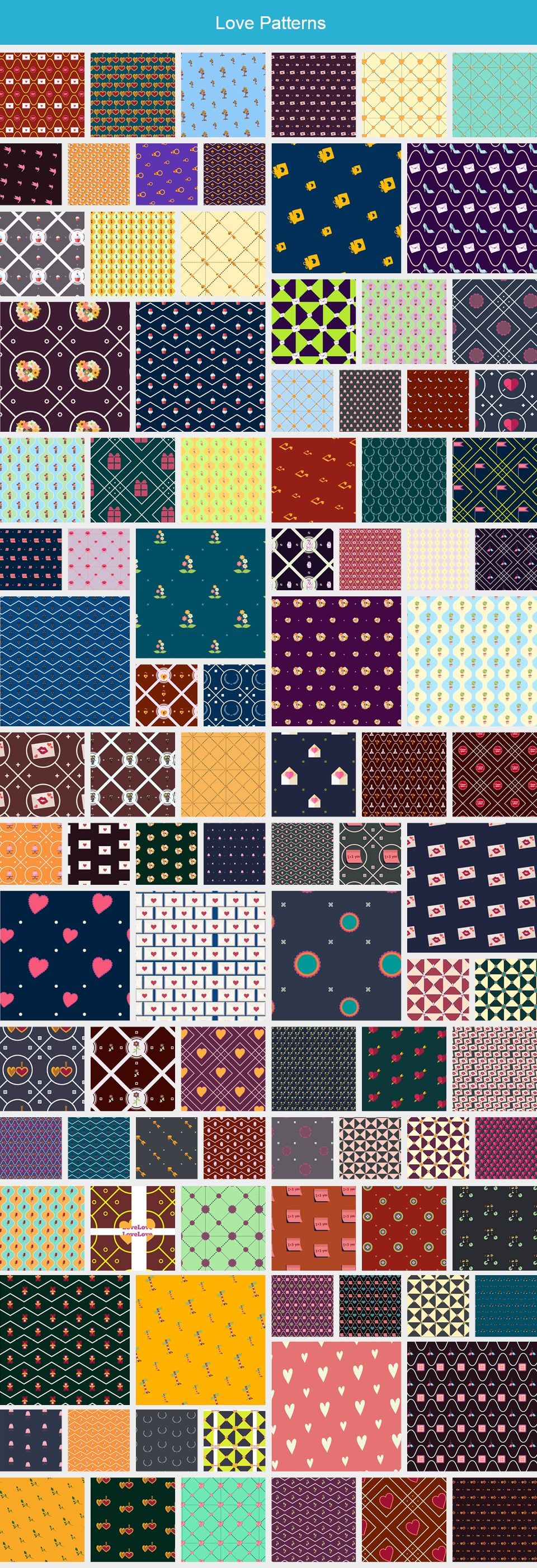 Modern Pattern Designs - Mega Bundle with 2000 Patterns - Large Preview Love