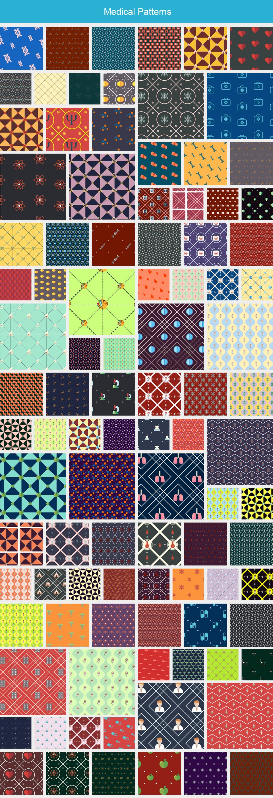 Modern Pattern Designs - Mega Bundle with 2000 Patterns - Large Preview Medical