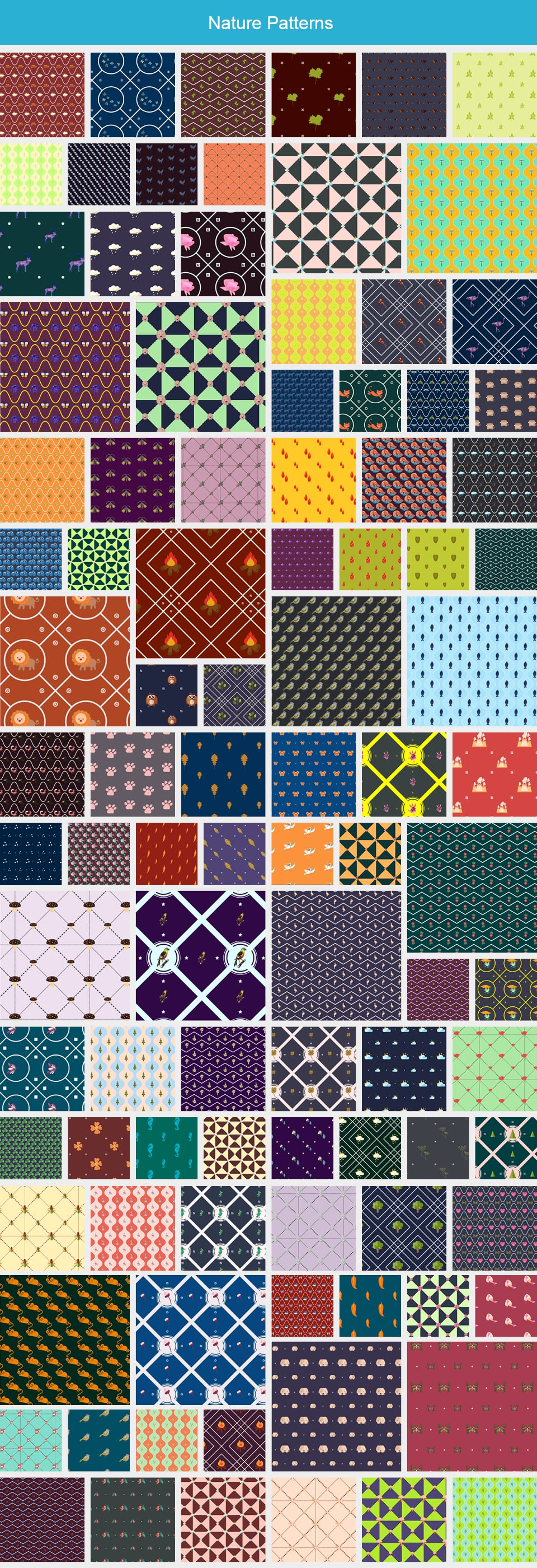 Modern Pattern Designs - Mega Bundle with 2000 Patterns - Large Preview Nature