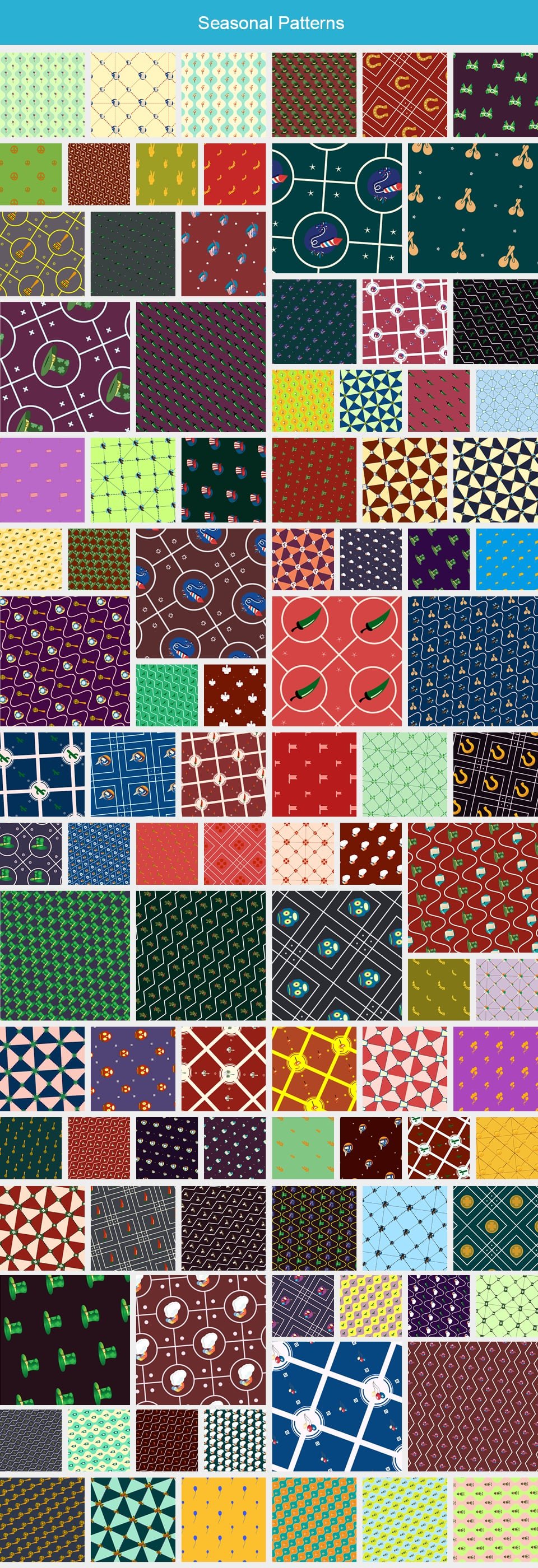 Modern Pattern Designs - Mega Bundle with 2000 Patterns - Large Preview Seasonal