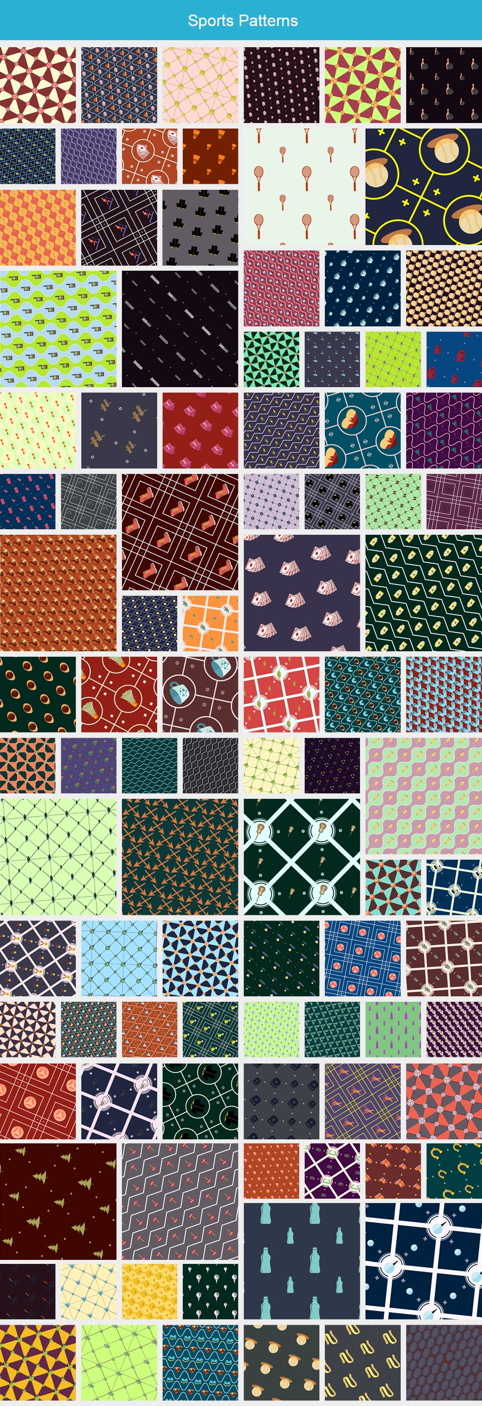 Modern Pattern Designs - Mega Bundle with 2000 Patterns - Large Preview Sports