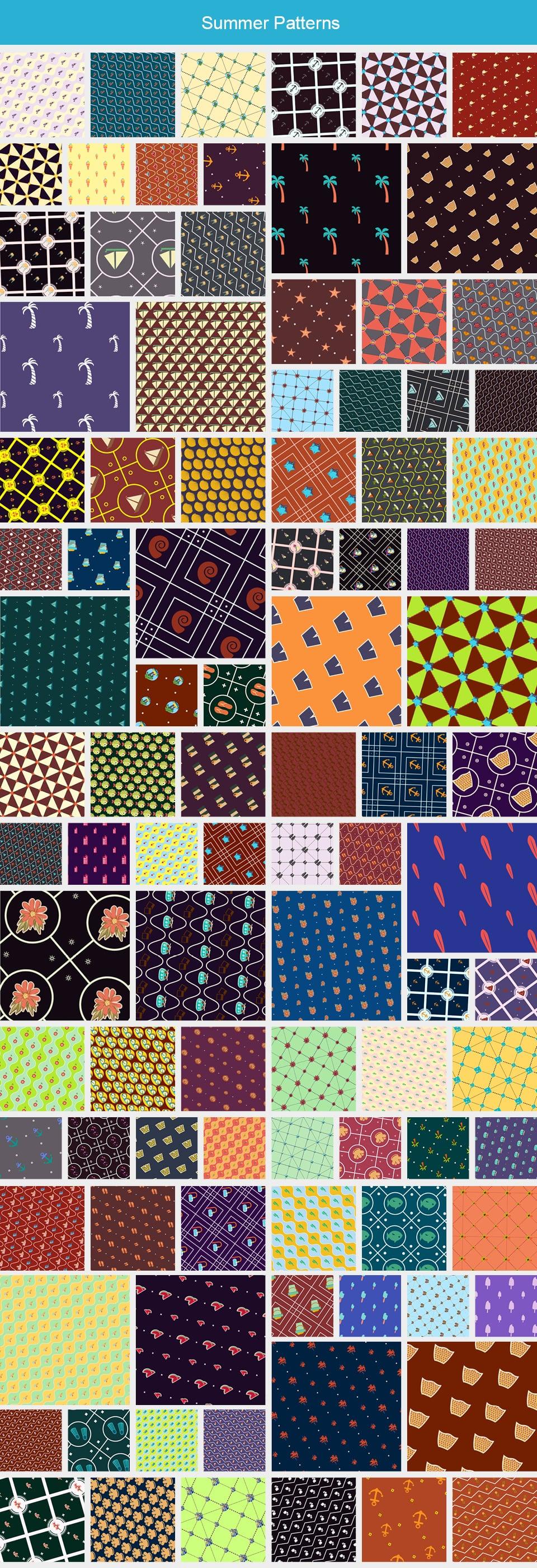 Modern Pattern Designs - Mega Bundle with 2000 Patterns - Large Preview Summer