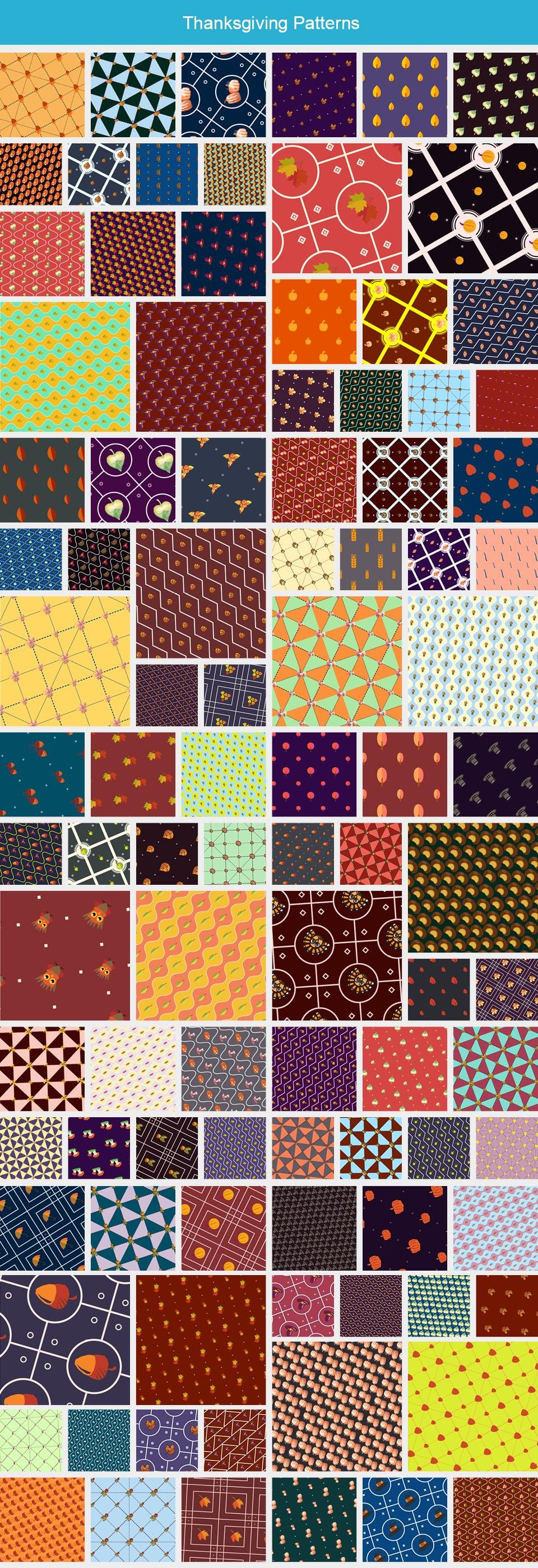 Modern Pattern Designs - Mega Bundle with 2000 Patterns - Large Preview Thanksgiving