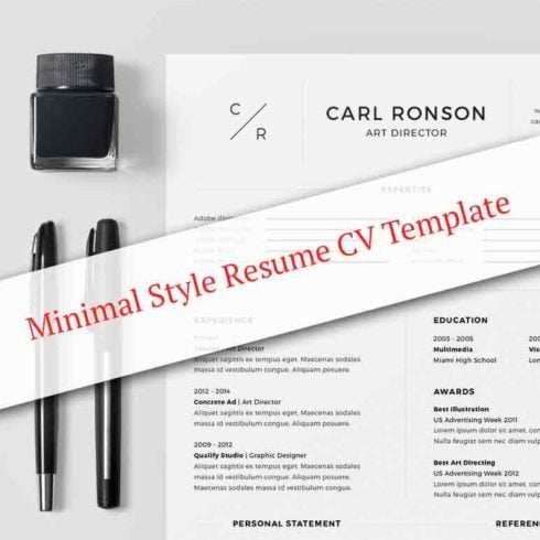 Minimal Style Resume CV Template - Preview 1 1 490x490