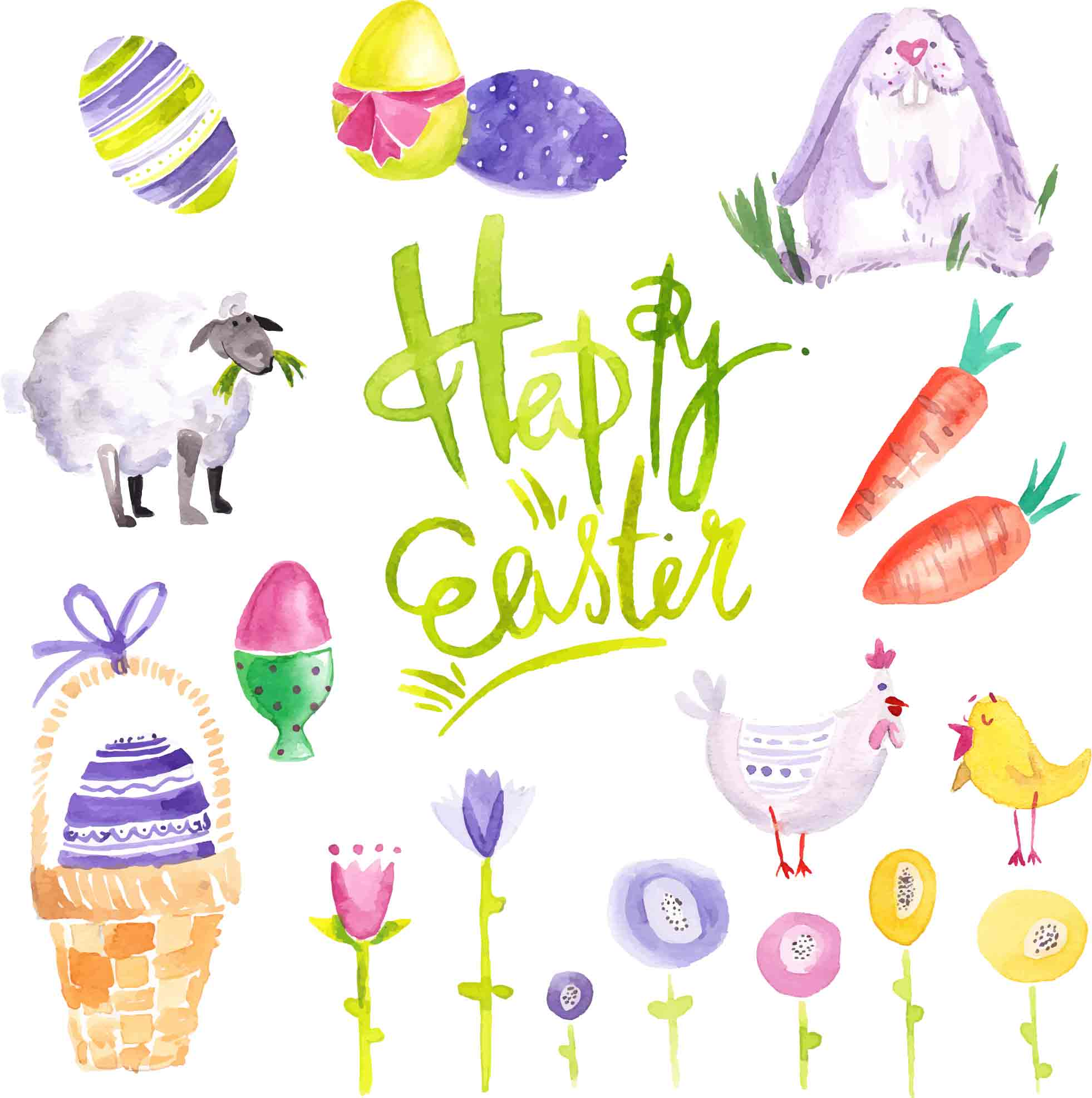 Happy Easter Images Clip Art - Just $15 For a Bundle - design tnt vector watercolor easter