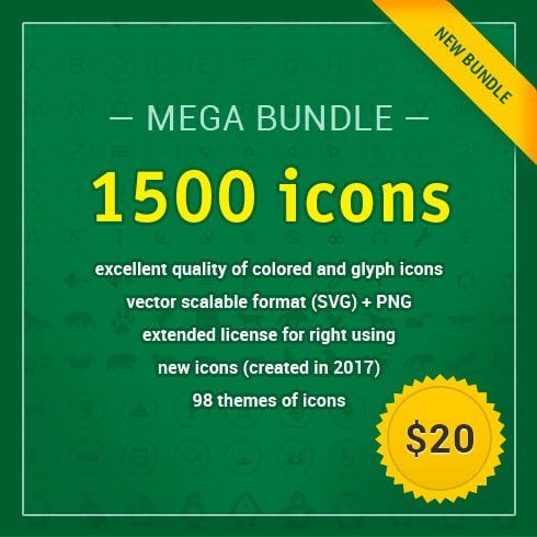 MEGA Bundle: 1500 New Vector Icons - main banner