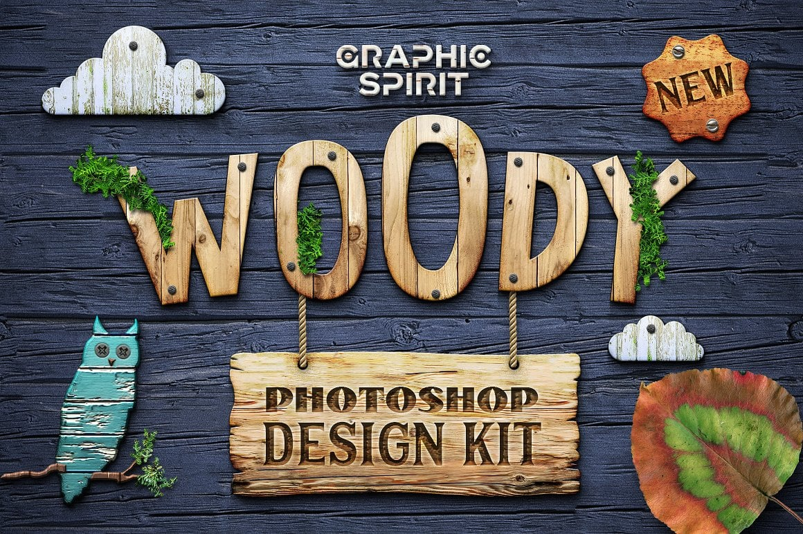Wood Effect: WOODY Photoshop Design Kit - only $19 - view1