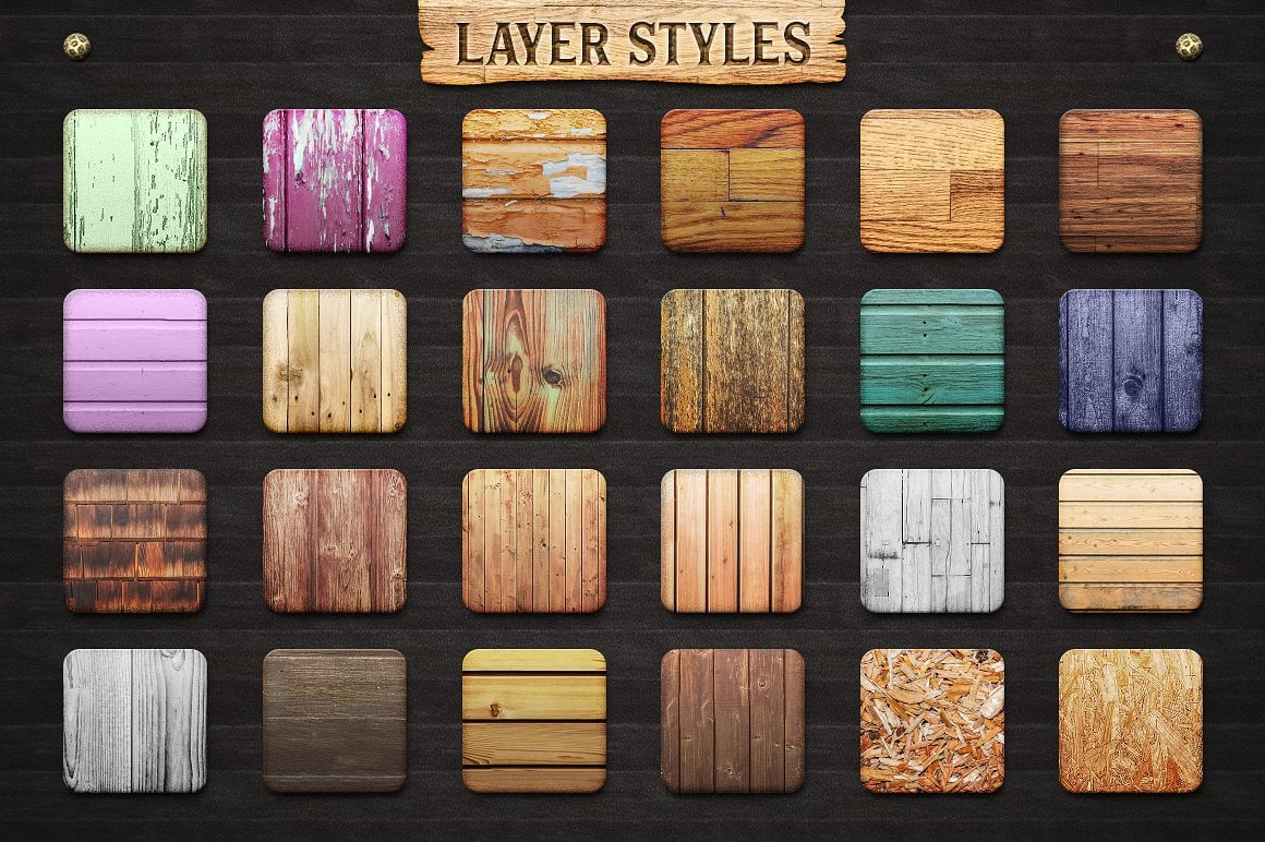 Wood Effect: WOODY Photoshop Design Kit - only $19 - view4