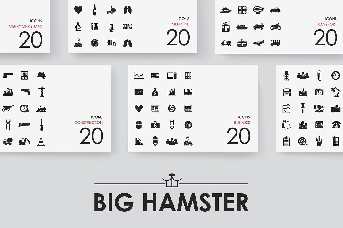 8900 BIG HAMSTER Icons Library - 1 1 2