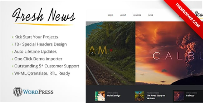 15 WordPress Themes Bundle with Extended License - Only $19 - 10 freshnews