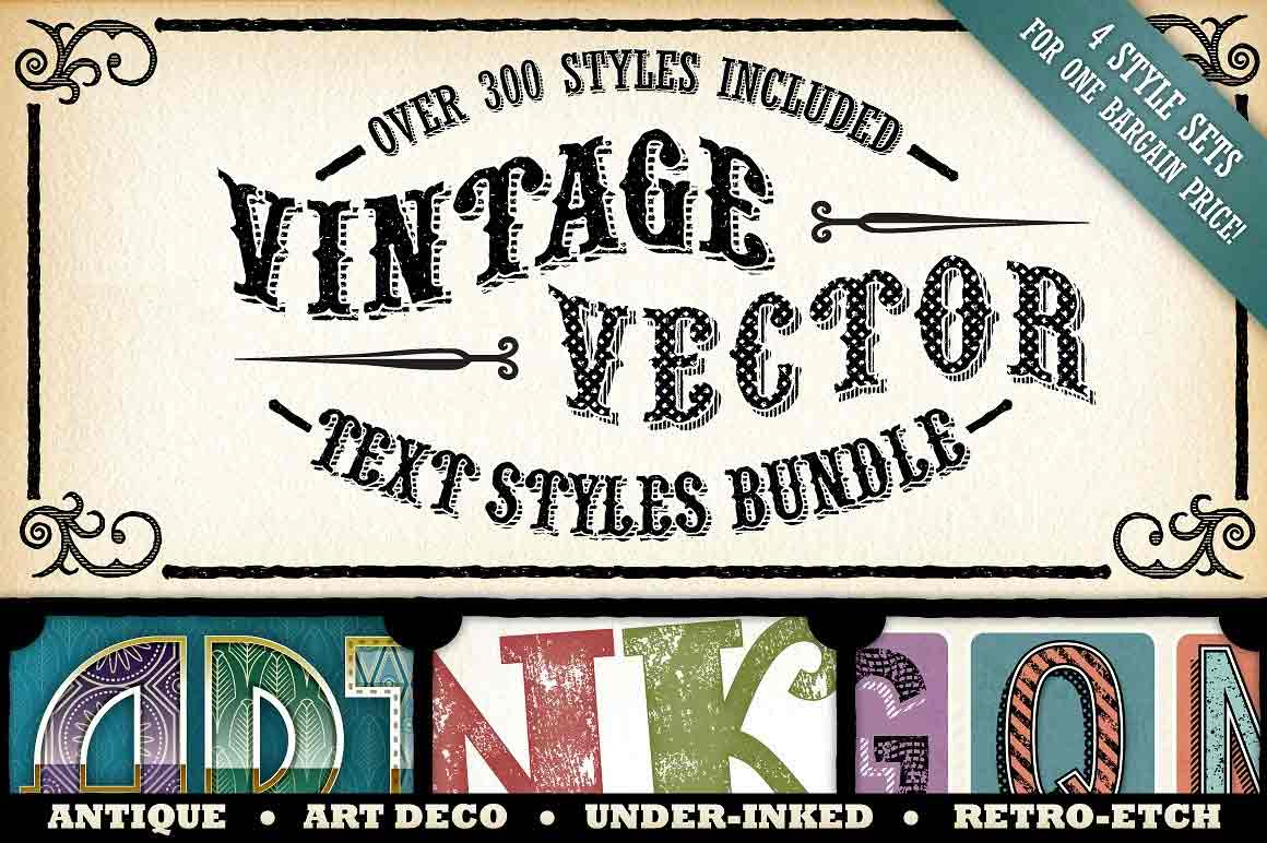 Vintage Bundle Text Styles And Brushes Master Bundles
