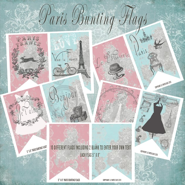 The Ultimate Creative Bundle - Paris Bunting Flag Main Preview