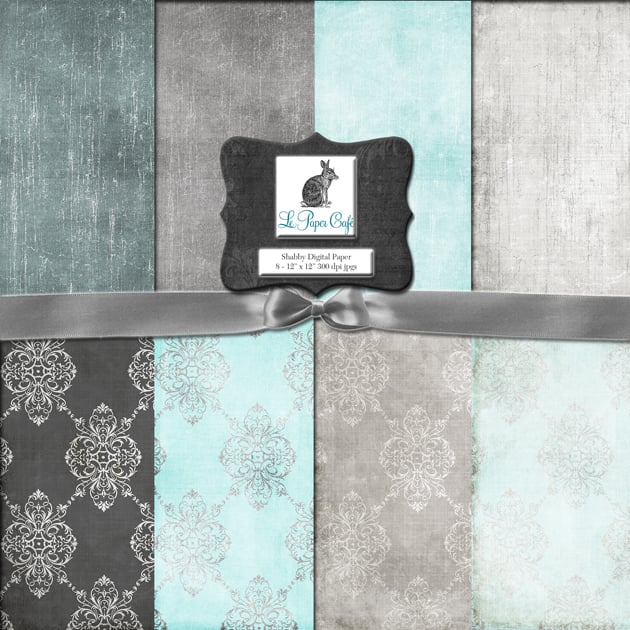 The Ultimate Creative Bundle - Teal Gray Damask and Solid Background Preview