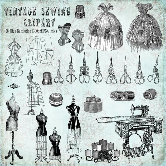 The Ultimate Creative Bundle - Vintage Sewing Clipart Preview