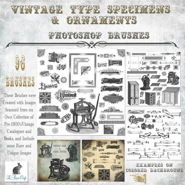 The Ultimate Creative Bundle - Vintage Type Specimen Ornament Preview 1CM