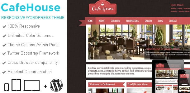 100 Premium WP Themes, Bootstrap Templates, HTML5 Apps & More – Only $29 - cafehouse wp wide