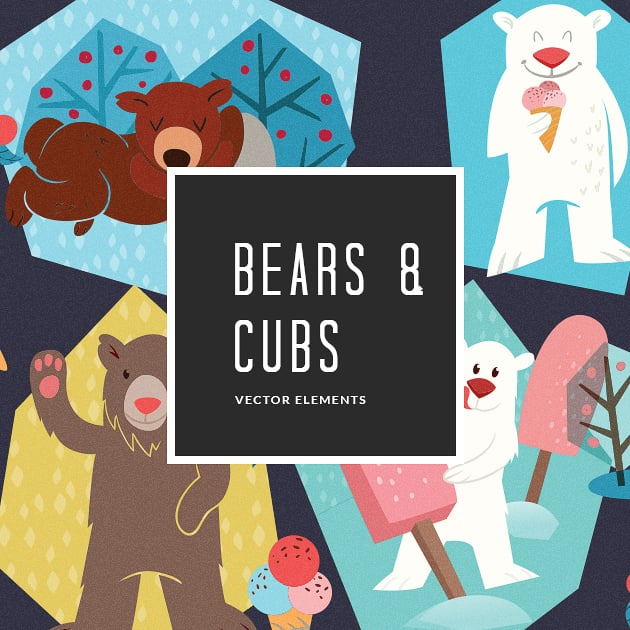 The Ultimate Creative Bundle - designtnt vector bears cubs 11 small
