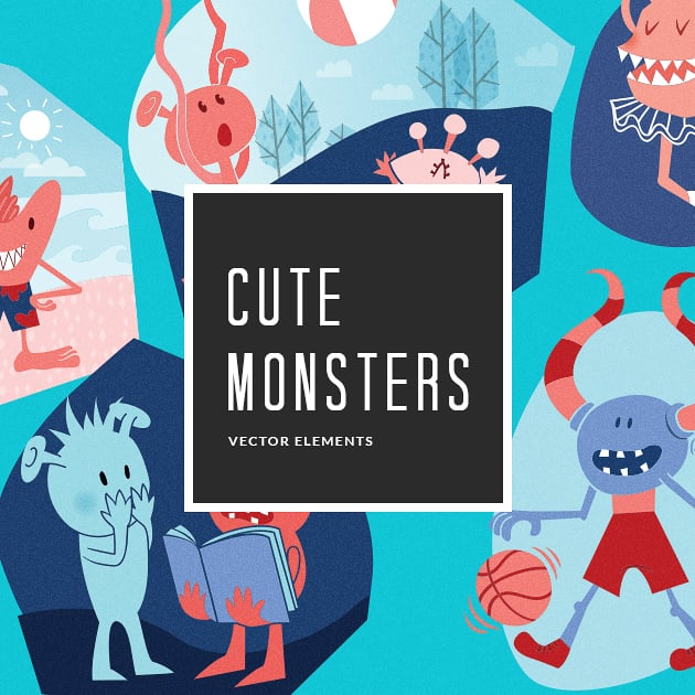 The Ultimate Creative Bundle - designtnt vector cute monsters 4 small