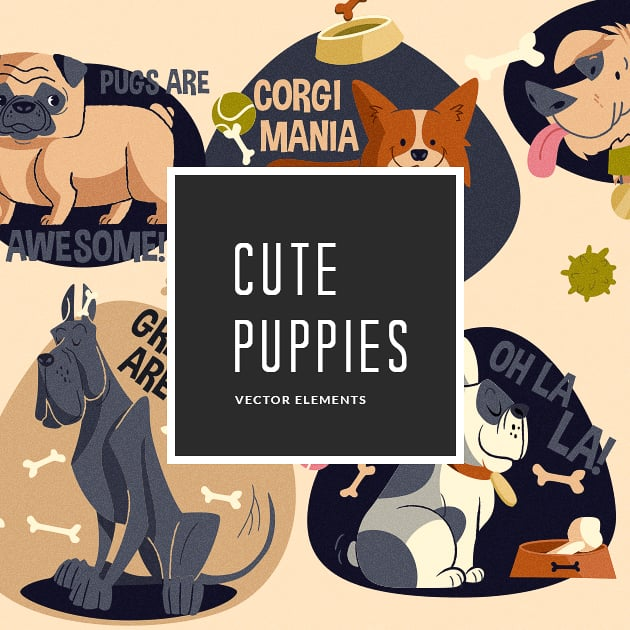 The Ultimate Creative Bundle - designtnt vector cute puppies small