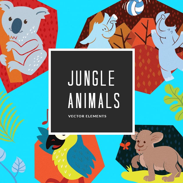 The Ultimate Creative Bundle - designtnt vector junlge animals 12 small