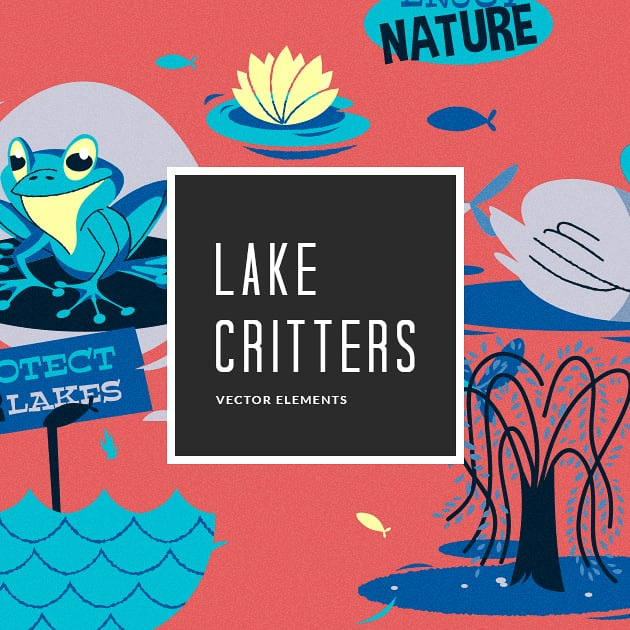 The Ultimate Creative Bundle - designtnt vector lake critters small