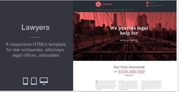 100 Premium WP Themes, Bootstrap Templates, HTML5 Apps & More – Only $29 - lawyers