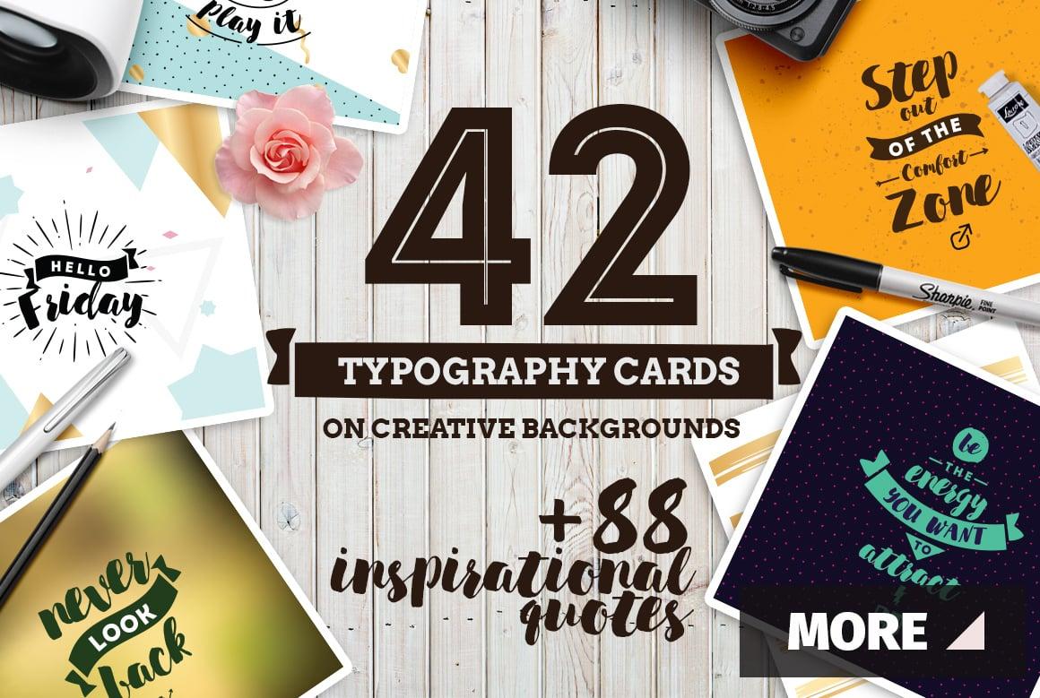 42 Typography Cards + Bonus Inspirational 88 Quotes - ss