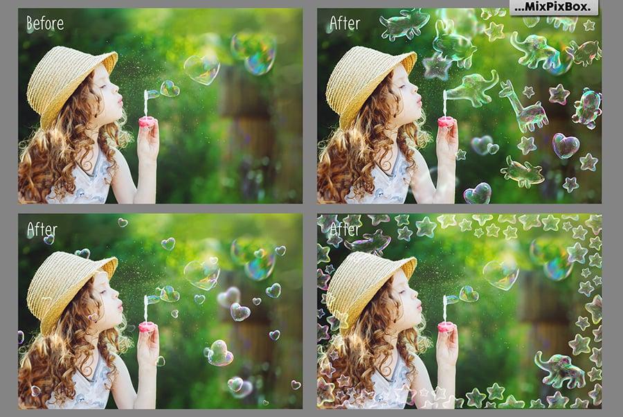 Funny Animals Soap Bubbles Overlay