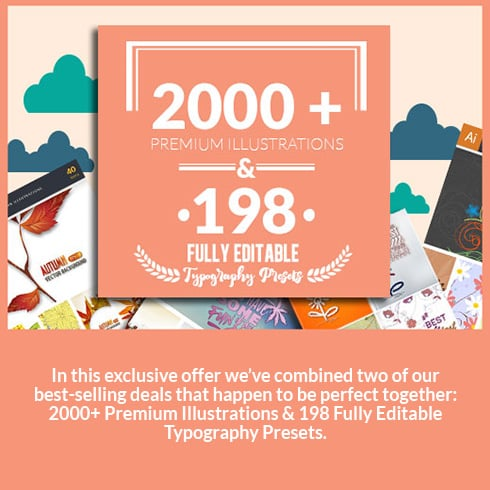 2000+ Premium Illustrations & 198 Fully Editable Typography Presets for Only $39 - 490x490 3