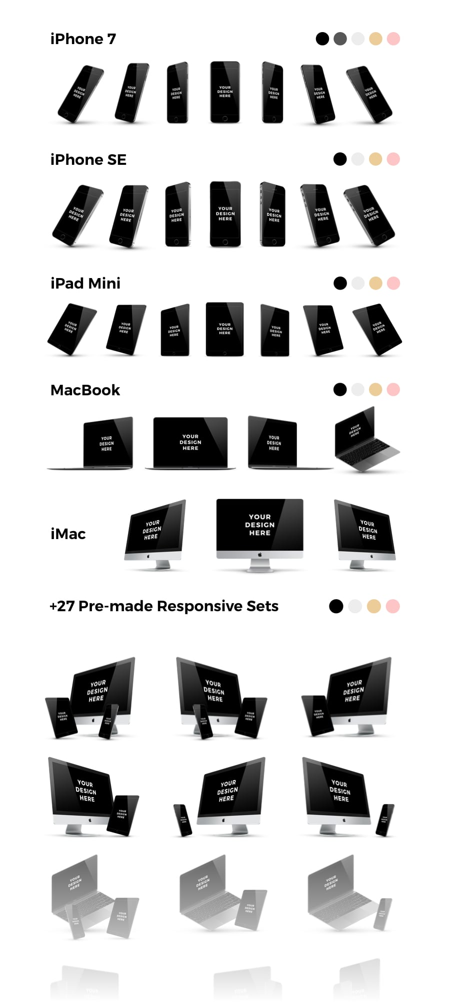 230+ Professional Mockups Bundle with Pre-made Responsive Sets - Bundle MasterBundles D