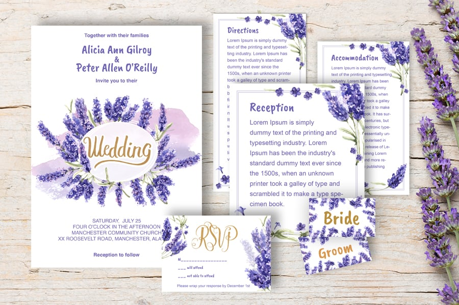 Lavender Printable Wedding Invitation Set