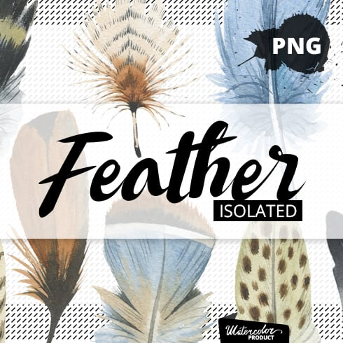 20 Watercolor Feather Patterns - image left 490x490px