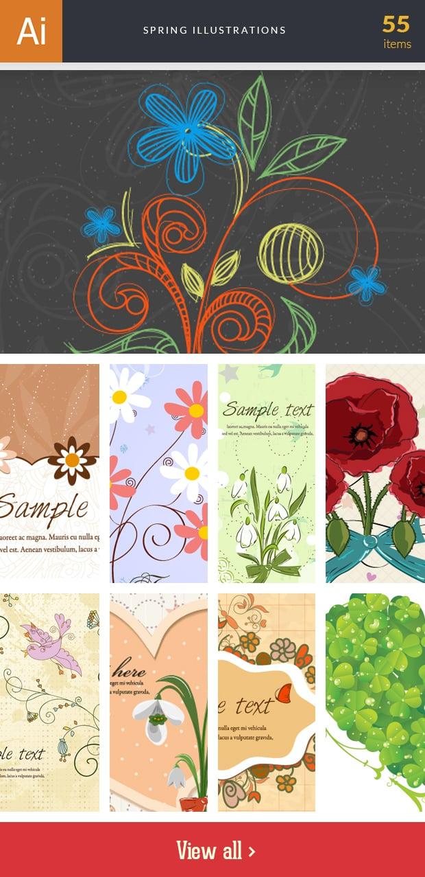 Graphic Design Illustrations - 2000+ Pro Digital Illustrations - inkydeals vector spring illustrations small