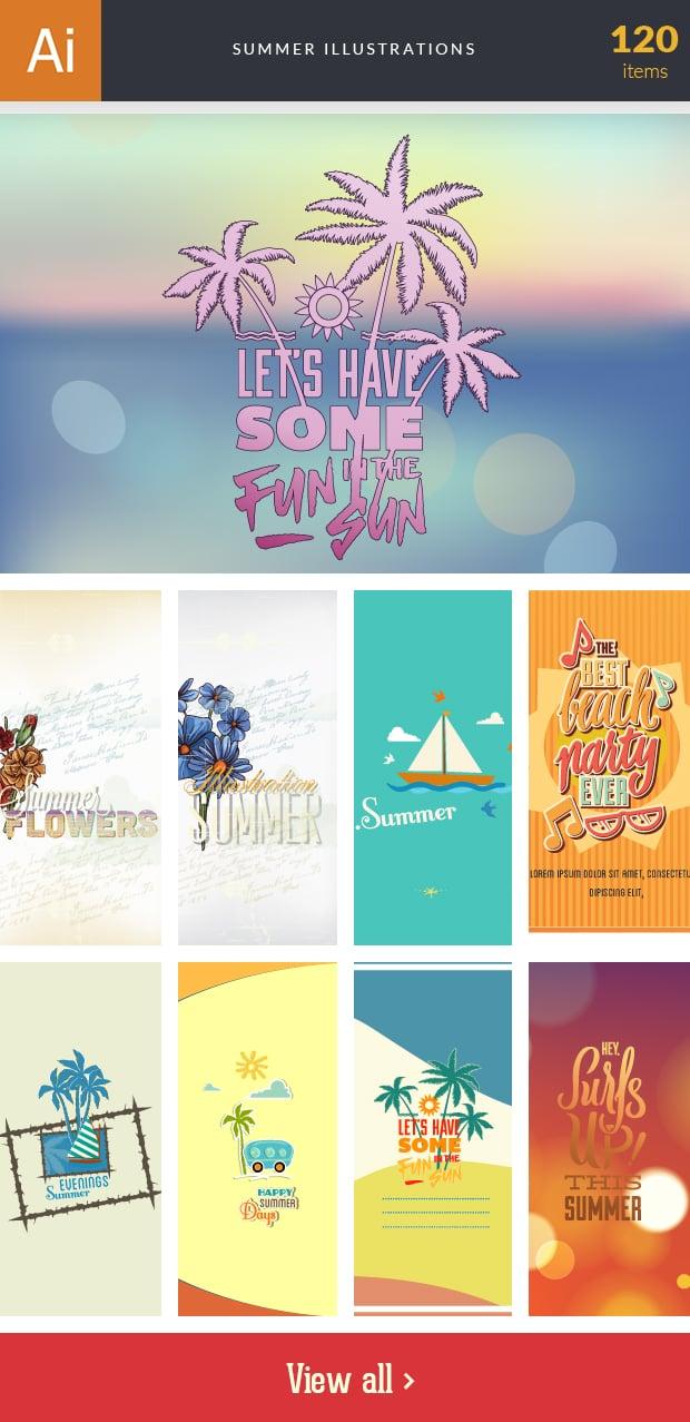 Graphic Design Illustrations - 2000+ Pro Digital Illustrations - inkydeals vector summer illustrations small