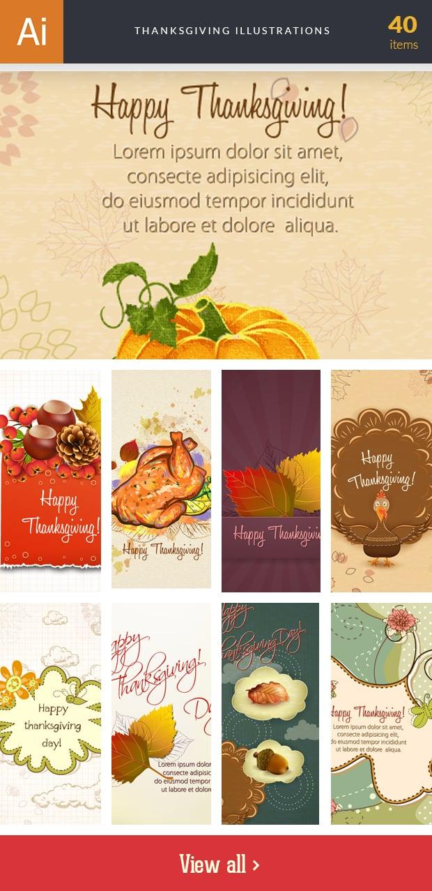 Graphic Design Illustrations - 2000+ Pro Digital Illustrations - inkydeals vector thanksgiving illustrations small