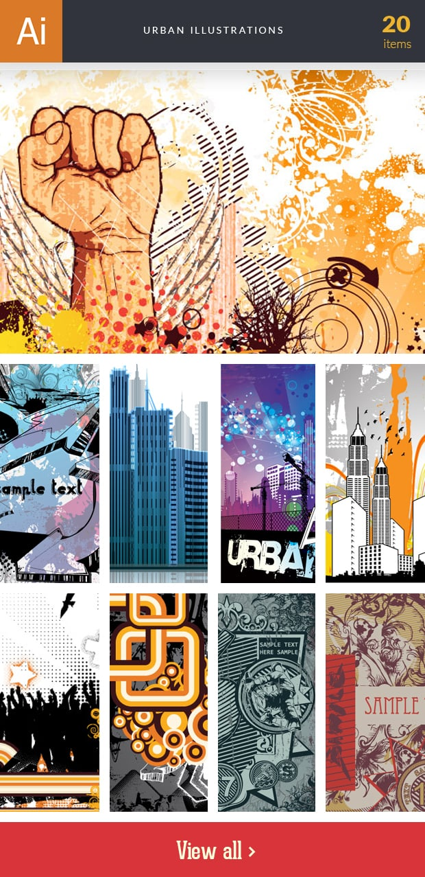Graphic Design Illustrations - 2000+ Pro Digital Illustrations - inkydeals vector urban illustrations small
